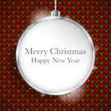Plata de la bola de la Feliz Año Nuevo de la Feliz Navidad en Seamles geométrico Foto de archivo libre de regalías