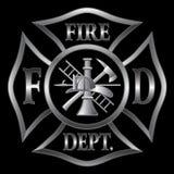 Plata de la cruz del cuerpo de bomberos Imagen de archivo