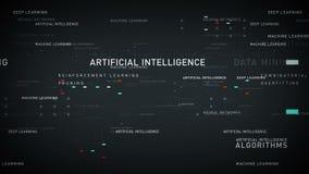 Plata de la inteligencia artificial de las palabras claves stock de ilustración