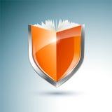 Plata de la seguridad en el hogar y escudo azul stock de ilustración