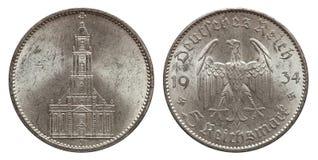 Plata de moneda de cinco marcas Alemania 1934 imagenes de archivo