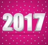 2017 plata del Año Nuevo 3d en un fondo estrellado rosado Ilustración Imagen de archivo