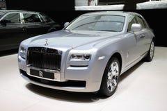 Plata del fantasma de Rolls Royce en la demostración de motor de París Foto de archivo