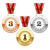 Plata del ganador, bronce y medallas de oro Foto de archivo libre de regalías