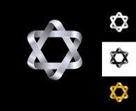 plata del oro blanco del negro de la plantilla del diseño del logotipo de la estrella del Seis-punto Foto de archivo
