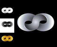Plata del oro blanco del negro de la plantilla del diseño del logotipo de la muestra del infinito Fotos de archivo