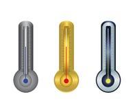 Plata del oro del termómetro Foto de archivo