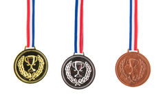 Plata del oro y medallas de bronce Fotografía de archivo libre de regalías