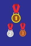 Plata del oro y medallas de bronce, insignia de la medalla Imágenes de archivo libres de regalías