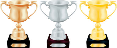 Plata del oro y trofeo del bronce   Imagen de archivo libre de regalías