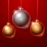 Plata del árbol de navidad y brillante realista de oro Imagen de archivo