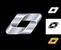 Plata geométrica del oro blanco del negro de la plantilla del diseño del logotipo de la muestra Imagenes de archivo