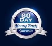 Plata insignia de la garantía de 60 días stock de ilustración