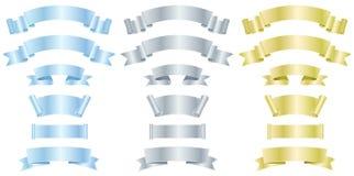Plata, metal y banderas o cintas del oro ilustración del vector