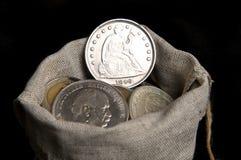 Plata un dólar de los E.E.U.U. Imagen de archivo