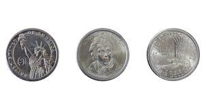 Plata una moneda del dólar Fotos de archivo