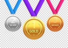 Plata y bronce del oro de la medalla del premio Sala del metal del campeón para el ganador Logro del vector stock de ilustración