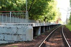 Plataforma abandonada del tren de la estación en el bosque Foto de archivo