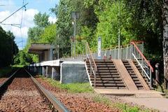 Plataforma abandonada del tren de la estación en el bosque Fotografía de archivo