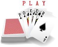 Plataforma da mão de pôquer dos cartões de jogo Foto de Stock Royalty Free