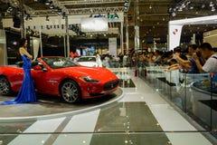 Plataforma de la exhibición de Maserati, 2014 CDMS Foto de archivo libre de regalías