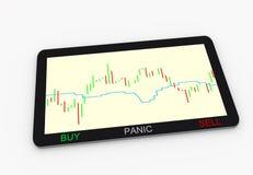 Plataforma de la tableta del comerciante con la carta financiera Fotos de archivo