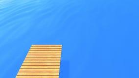 Plataforma de madeira no mar azul fotografia de stock royalty free