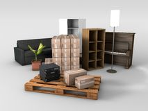 Plataforma de madera con los tableros de tarjeta Fotografía de archivo libre de regalías