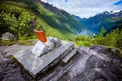 Plataforma de observação do fiorde de Geiranger, Noruega Fotos de Stock