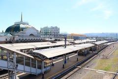 Plataforma del ferrocarril de Krasnoyarsk fotografía de archivo libre de regalías