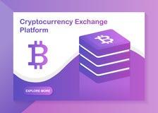 Plataforma del intercambio de Cryptocurrency Ejemplo isométrico moderno del vector diseño web website libre illustration