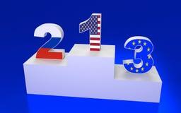 Plataforma del premio con números y banderas Fotografía de archivo