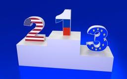 Plataforma del premio con números y banderas Imagen de archivo libre de regalías