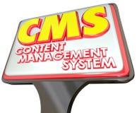 Plataforma del sitio web de la muestra de publicidad del sistema de gestión del contenido de CMS Fotografía de archivo