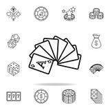 plataforma descoberta do ícone dos cartões Grupo detalhado do esboço de ícones do elemento do casino Projeto gráfico superior Um  ilustração royalty free