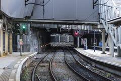 Plataforma do estação de caminhos-de-ferro Foto de Stock