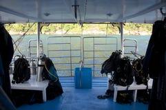Plataforma do mergulho em um barco do liveboard Foto de Stock