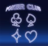 Plataforma dos símbolos de cartões colorida de néon para jogar o pôquer e o casino no fundo preto Ilustra??o do vetor ilustração stock