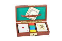 Plataforma e microplaquetas do póquer Fotos de Stock