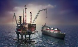 Plataforma e petroleiro a pouca distância do mar de furo ilustração stock