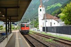 Plataforma Fluelen Suiza del tren Foto de archivo