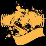 Plataforma giratória amarela do DJ dos grafittis. ilustração do vetor
