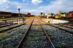 Plataforma giratória railway velha imagens de stock