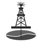 Plataforma petrolífera, ícone da etiqueta do Gusher do óleo Foto de Stock