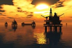 Plataforma petrolífera e petroleiro no rende do por do sol 3D do mar ilustração do vetor