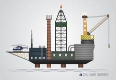 Plataforma petrolífera isolada Fotos de Stock Royalty Free
