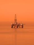 Plataforma petrolera en el mar Caspio Fotos de archivo libres de regalías