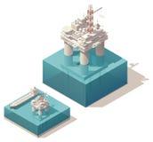 Plataforma petrolera isométrica ilustración del vector