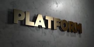 A plataforma - sinal do ouro montado na parede de mármore lustrosa - 3D rendeu a ilustração conservada em estoque livre dos direi ilustração stock