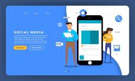 Plataforma social lisa dos meios do conceito de projeto do Web site do projeto do modelo ilustração stock
